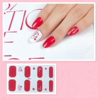 Set Of 14 Pieces Full Cover 3D Nails Stickers 532 - Wine Red