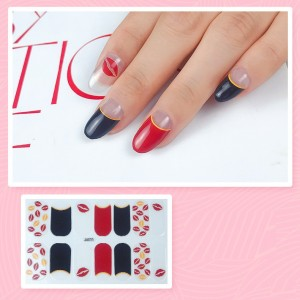 Set Of 14 Pieces Full Cover 3D Nails Stickers 533 - Black Red