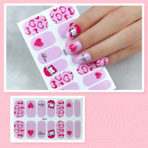 Set Of 14 Pieces Full Cover 3D Nails Stickers 534 - Purple Gradient