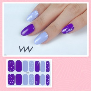 Set Of 14 Pieces Full Cover 3D Nails Stickers 535 - Multicolor