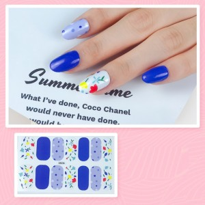 Set Of 14 Pieces Full Cover 3D Nails Stickers 535 - White Multicolor