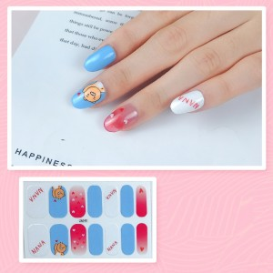 Set Of 14 Pieces Full Cover 3D Nails Stickers 540 - Sky Blue