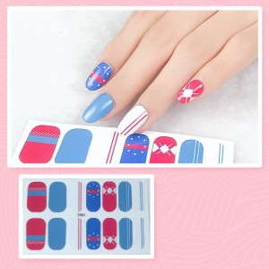 Set Of 14 Pieces Full Cover 3D Nails Stickers 541 - Blue Ash