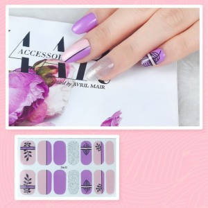 Set Of 14 Pieces Full Cover 3D Nails Stickers 542 - Purple Silver