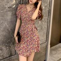 Printed Floral V Neck Mini Dress - Pink