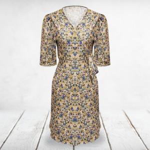 Printed Floral V Neck Mini Dress - Yellow