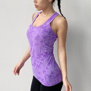 Sleeveless Halter Neck Sports Wear Fitted Top - Purple