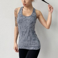 Sleeveless Halter Neck Sports Wear Fitted Top - Gray