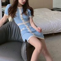 Contrast Round Neck Short Sleeves Fitted Mini Dress - Blue