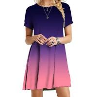 Gradient Round Neck Short Sleeves Mini Dress
