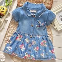 Doll Neck Cute Baby Girls Floral Print Dress Shirt - Blue
