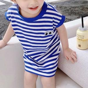 Round Neck Printed Striped Girls Wear Mini Dress - Blue