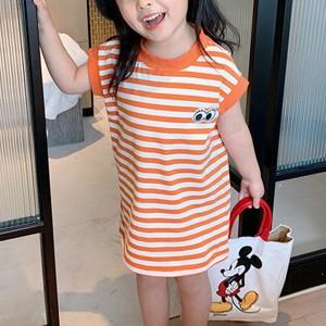 Round Neck Printed Striped Girls Wear Mini Dress - Orange