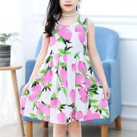 Fruits Print Sleeveless Girls Wear Shirt Dress - Pink