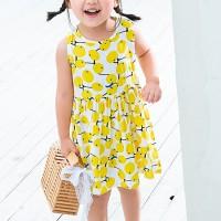 Fruits Print Sleeveless Girls Wear Shirt Dress - Yellow