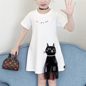 Cute Cat Print Girls Wear Mini Dress - White