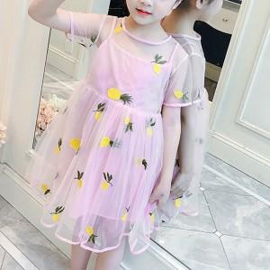 Pineapple Printed Acrylic Two Piece Shirt Dress - Pink