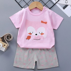 Cartoon Prints Two Pieces Cute Unisex Kids Matching Sets - Pink