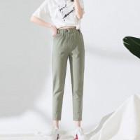 Button Closure Waist Narrow Bottom Trouser Pants - Green
