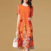 Digital Printed Floral Round Neck Short Sleeves Midi Dress - Orange