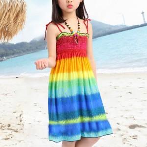Gradient Rainbow Beach Wear Cute Girls Mini Dress