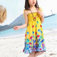 Floral Rainbow Beach Wear Cute Girls Mini Dress - Yellow