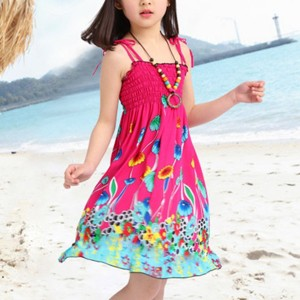 Floral Rainbow Beach Wear Cute Girls Mini Dress - Hot Pink