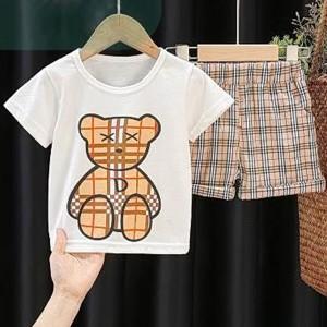 Check Pear Prints Cute Unisex Kids Matching Sets - Khaki