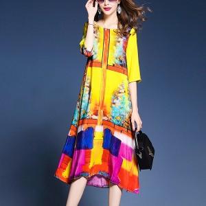 Digital Printed Bohemian Round Neck Half Sleeves Midi Dress