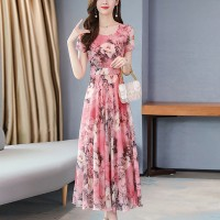 Round Neck Printed Floral Short Sleeves A-Line Midi Dress