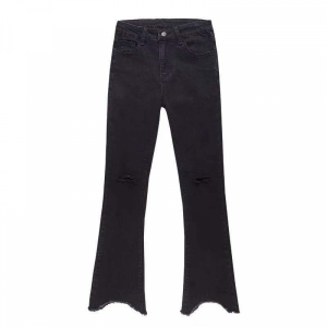 Ripped Fitted Tassel Casual Wear Bottom Pants - Black
