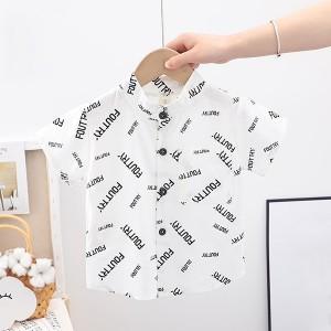 Button Closure Cute Boys Wear Formal Shirt - White