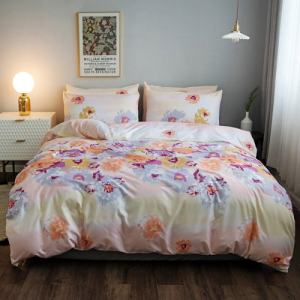Floral and Leaves Design King Size 6 Pieces Bedding Set