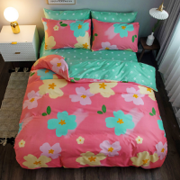 Pink Flower Design Printed Single Size 4 Pieces Bed Sheets Set