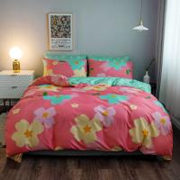 Pink With Flower Design Queen Size 6 Pieces Bedding Set