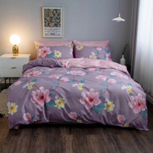 Purple With Flower Design King Size 6 Pieces Bedding Set