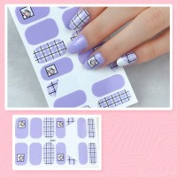 Set Of 14 Pieces Full Cover 3D Nails Stickers 543 - Gray Blue