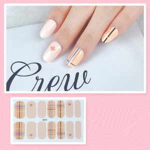 Set Of 14 Pieces Full Cover 3D Nails Stickers 544 - Khaki