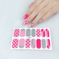 Set Of 14 Pieces Full Cover 3D Nails Stickers 546 - Grit Pink