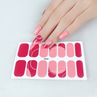 Set Of 14 Pieces Full Cover 3D Nails Stickers 548 - Pink Red