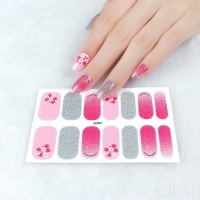 Set Of 14 Pieces Full Cover 3D Nails Stickers 552 - Shiny Silver Pink