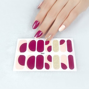 Set Of 14 Pieces Full Cover 3D Nails Stickers 557 - Dark Purple