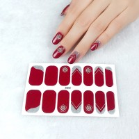 Set Of 14 Pieces Full Cover 3D Nails Stickers 562 - Burgundy
