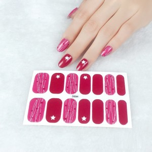 Set Of 14 Pieces Full Cover 3D Nails Stickers 564 - Rose Pink