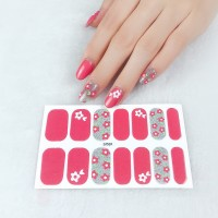 Set Of 14 Pieces Full Cover 3D Nails Stickers 569 - Candy Pink