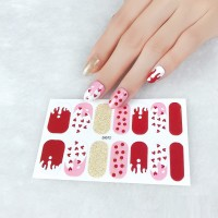 Set Of 14 Pieces Full Cover 3D Nails Stickers 572 - Burnt Red