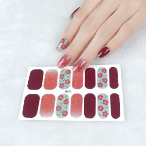 Set Of 14 Pieces Full Cover 3D Nails Stickers 573 - Coffee Red