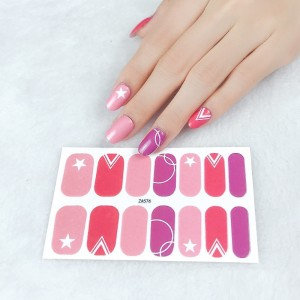 Set Of 14 Pieces Full Cover 3D Nails Stickers 576 - Barbie Pink