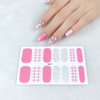 Set Of 14 Pieces Full Cover 3D Nails Stickers 577 - Pink Multicolor
