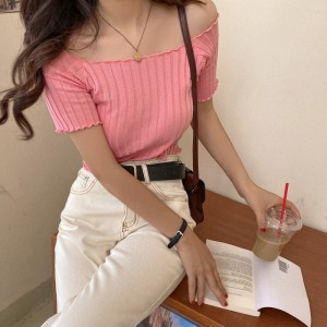 Short Sleeve Body Fitted T Shirt Base Sweater - Pink